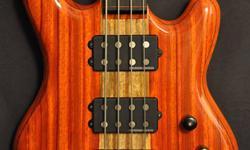 "Up for sale is a new Alexander James Guitars - Teraux model - African Padauk Fretless bass guitar. www.alexanderjamesguitars.com Model - Teraux Scale length - 34"" Top wood - Quartersawn Padauk Core wood - Padauk Neck wood - Padauk Back wood - Quartersawn"