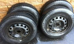 Set of 4 All Season Tires (185/70/r14) on steel rims   4x100 bolt pattern came off a Honda Civic Will throw in Honda Hubcaps   Priced to sell/if this ad is still up the tires are still available   The rims are 4x100: standard bolt pattern for Honda Civic,