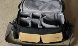Camera bag with adjustable velcro compartments, 4 outer pockets, two zippered pockets and a removable, padded shoulder strap. Interior dimensions: 6 inch x 6 inch x 12 inch.