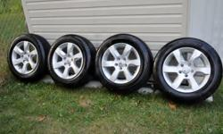 OEM Altima Alloys with TPMS sensors & 215-60-16 Michelin Primacy...nitrogen filled...used less than 500 kms approx 1 month only...the factory stickers are still on the rims. No plugs or curb rash. Purchased on July 2011 the whole set seperately from