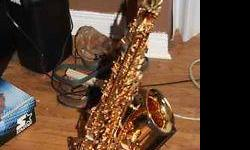 intex saxophone with hard material case, reads, cleaners and stand. barely used. txt or email only please!