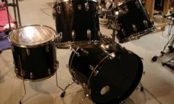 """I have for sale a 4 piece Black Ludwig Drumset! The quality of these drums are amazing! The sizes of the drums are: Kick Drum: 22"""" Tom-Toms: 14"""", 15"""" Floor Tom: 18"""" All drums have Monroe, N.C. Keystone Badge. Vintage ludwig's are becoming very popular and"""