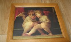 """ANGEL picture Size: 12 1/2"""" X 11"""" Brown wood frame Very nice! Great for the person who loves Angels!! Nice addition to any room. ONLY $10 Can meet in west end of ottawa (kanata) or pickup in Constance Bay"""