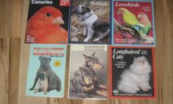 The group of 5 are about all the different brreds of dogs and cats.They are 20.00 each   There are a lot of different books.Some on breeds of animals.Some are stories about them,grooming,breeding,nature,home remadies,dreams.They are 5.00 for each book.