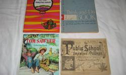 PUBLIC SCHOOL DRAWING COURSE-1892-completed TOM SAWYER 1993 COLOR BOOK -NEW THINK-AND-DO 1956- scribbled through MY FIRST PRACTICE BOOK-1970 -NEW