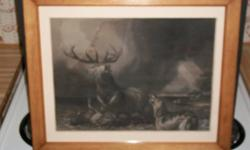 """***A black & white antique, one-sided, engraving (print) of a Sir Edwin Landseer painting titled """"The Stag at Bay"""". Landseer was an infamous English painter & sculptor (1802 - 1873). Engraving by H. B. Hall. It depicts a stag (deer) fighting with two"""