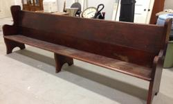 """Antique church pew, thought to be 80+ years old. Fir construction, some surface blemishes. Measures 11'-0"""" long."""