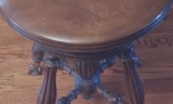 Antique Chas Charles Parker Co Piano Stool Adjustable Seat Glass Ball Claw Feet Excellent condition circa 1890