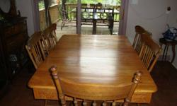 Beautiful antique dining room table or kitchen table, with 6 press back chairs. Very ornate carving on apron, legs etcHas two leafs and is in excellent condition.Will sacrafice for $450 Photos available.