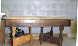 """Antique table that needs some refinishing. Seats from 6 to 8 ( Two 1' leaf inserts). Length 4' 2"""", width 3' 1/2""""."""