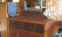 """For Sale in Fort Macloed, antique dresser - solid wood. with mirror. Dresser stands 36"""" high alone, with mirror - 67"""", width 38"""" and 18"""" deep"""