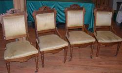 I have four VERY old Eastlake Parlour chairs - from the mid 1800's or earlier. They belonged to my Great-Grandmother who inherited them from a family member. The carving is beautiful. All chairs would need to be recovered but the wood is perfect and the