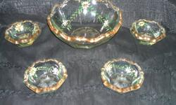 Victorian era gilded edged, enamel painted, fruit bowl with four matching serving bowls. Contact me at 613-657-1445