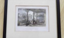 View from the House of R. Shirreff, Esq., Ottawa River. Canada. Original steel engraving, engraved by J. T. Willmore from an original drawing by William Henry Bartlett (1809-1854). Print is in very good condition. Hand-coloured. Matted & framed. See last