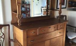 """Turn of the century, Canadiana, oak hutch. dovetailed joints. Breaks into three pieces for transport. 80"""" tall, 64"""" with decorative top removed. 54"""" wide, 22"""" deep. paid $1800 fifteen years ago."""