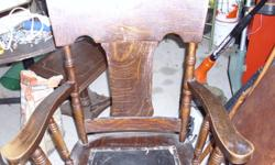 Very solid antique oak arm chair in original condition just waiting for a new home.