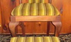 Antique Occasional Chair New upholstery Padded seat with cushion Matching ottoman $225.00