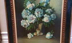 """Antique Oil Painting on Canvas - Artist """"Jerrat"""" width 34 length 40"""