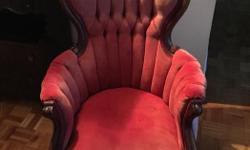 Red velvet upholstery, walnut wood