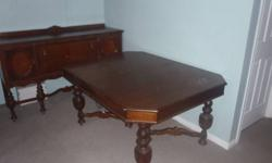 i have an antique table for sale, good for an antique collector or someone that has the antique fashion way to dress up their home. the table has no chairs and no expandable leaf  and it could use some finishing touches to bring back it's new look. brand