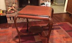 Antique solid wood side table with shelf on the bottom. Approximately 3.5' x 3.5'. Excellent condition. Call or text. Ladysmith.