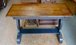 """Antique Trestle Table with 7/8"""" thick Restored Maple Top Dimensions are 24 x 48 x 30"""" in height.....$265"""