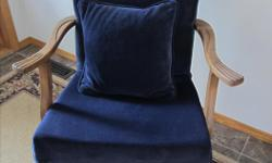 Antique Victorian Arm Chair - Navy blue velour color - Good condition - Solid wood arms and legs - Matching cushion