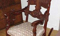 For sale is a beautiful Antique from the Victorian Era Mahogany Wood Rocker or Rocking Chair. It is Circa 1910 and about 20 years ago it was refinished and professionally reupholstered. I am running out of room and find I now need to downsize so I am