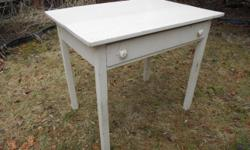 """Great for industrial and rustic decor/prop. AS IS - table is a bit wobbly and the paint has dings. Needs some TLC and maybe a fresh coat of paint. (see photos) 34"""" long x 24"""" deep x 29 3/8"""" tall Many uses: desk, side table, end table, night stand, plant"""