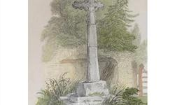 Antique W.B. Cooke Engraving of Wheston Cross. A splendid engraving of Wheston Cross in Derbyshire, England etched by W.B. Cooke after a drawing by F.I. Chantrey. Copper plate work originally published around 1820. Mounted and framed, including the title