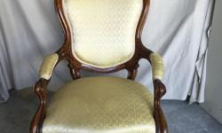 WALNUT CARVED LADIES PARLOUR CHAIR 1880's Appraised in 1998 for $800 with papers OBO