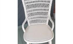"Antique white rattan rocking chair. This charming open weave rattan-back rocking chair would be right at home on a porch, or in a bedroom. It's in excellent condition and dates to the 1920's. Dimensions 32"" high (81 cm) 18"" wide (46 cm) 16.5"" deep (42"