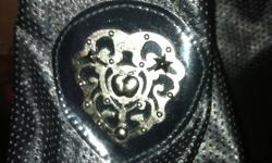 Leather apple bottoms coat. Worn once, paid $80.00... Black with silver piping. SIZE MEDIUM!!