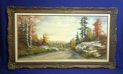 Here for sale is a beautiful northern ontario landscape oil painting signed by O.J. Coghlin. Excellent use of colour and exceptional detail. What is truly unique about this artist is how she paints. She does not use a brush, but by knife. Very unique