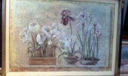 Purchased at Bombay Company for $300. Beautifully framed 30X36 . all natural milk paint in brown and hand applied gold leafing detail. Picture is inset in beige linen.