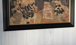 56 inches long and 36 inches tall. Beautiful warm colours with Asian theme and writing. Cost over $450 at an art gallery.