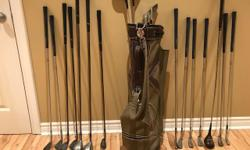 An assortment of clubs ( 19 in total) + 1 bag Mostly Wilson. A couple of Jack Nicholas woods. Negotiable