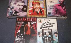 5.00 each. James Stewart 2 pack dvd, Pot o' Gold and Made For Each Other, new, unopened. Jerry Lewis as The Bellboy, Ronald Reagan 2 pack dvd, This Is The Army, and Santa Fe Trail, new, unopened. Red Skelton 2 dvd pack, 10 episodes. The Three Stooges, 4