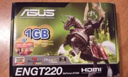 Great little video card will let you play games on your T.V with the HDMI port. Can play a lot of games out there. $35 OBO Graphics Engine NVIDIA GeForce GT 220 Bus Standard PCI Express 2.0 Video Memory DDR3 1G Effective Memory Size 1024 MB Engine Clock