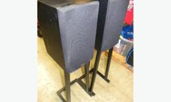 """SPEAKERS NOT INCLUDED. These stands are sturdy, well constructed. They stand almost 2 feet high, 11"""" square at bottom, and the top is 7"""" square. Anti-slip pads keep your speaker in place. Easy way to get your speakers at a proper listening height. Price"""