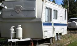 """1979 - 19 1/2 ft travel trailer for sale.  VG condition!  This trailer has been used as a """"spare bedroom"""" for a cabin for the past 9 years.  The kitchen and bathroom haven't been used in 9 years.  Sleeps 4 comfortably plus a bunk.  Toilet, sink and bath"""