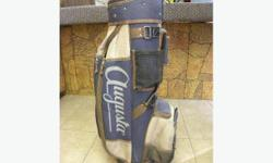 Augusta golf bag, item # I-501. Blue and Gray. Price of $27 includes all taxes. PLEASE REFER TO INVENTORY # I-501 WHEN INQUIRING. We also have more items for sale at The Bay Street Broker located on the corner of Bay and Government St. open till 6:00 pm