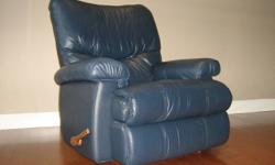 Fabulous condition, Leather Blue Lay-Z-Boy Recliner with original paperwork. Very comfortable. Retails new at over $1200!!! From a smoke free, pet free home.