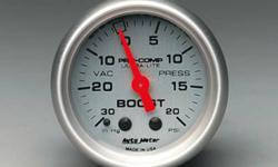 SELLING TWO PRO COMP ULTRA LITE SERIES GAUGES. ONE IS A BOOST/VACUUM, 30 IN. HG/20 PSI, 2 1/16 IN., ANALOG MECHANICAL GAUGE. ONE IS A Oil Pressure, 0-100 psi, 2 1/16 in., Analog, Electrical OIL PRESSURE, 0-100 PSI, 2 1/16 IN., ANALOG, ELECTRICAL 226 802