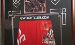 Retails for $600 Make A reasonable Offer Autographed UFC MMA Georges St-Pierre Trunks Framed This  is approx 28 x 36.  These replica trunks are the exact same worn by UFC MMA fighter Georges St-Pierre. Comes hand signed  Comes beautifully framed. This