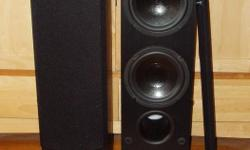 """Merak MT66 Special Edition mini-tower speakers *Quality speaker, made in Canada *Manufactured by well-known Axiom Audio (www.axiomaudio.com) *Small footprint (8.75"""" x 7"""" x 30"""") with big sound *Dual 6.5"""" woofers (rubber surrounds) and 1"""" Titanium tweeter"""