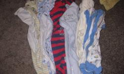 A nice variety of boy colors and neutral colored clothes. Very lightly used, no stains, pretty much brand new. Good selection of different clothing items. Includes: touques, hats, socks, onesies, diaper shirts, shorts, t-shirts, pants, long sleeve shirts