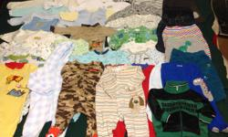 In excellent condition 25 sleepers 8 pants 1 jacket 7 hats Size 3 to 6 months and 6 months