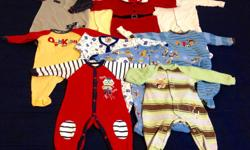 A lot of clothes in excellent condition 20 sleepers , 19 onesies, 11 pants, 4 shirts, one two piece outfits, 4 one piece outfits, 2 overalls, 2 pairs of shoes. Size 3 to 6 and 6 months