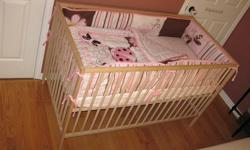 """Baby Crib with Accessories SNIGLAR Baby Crib that converts to day bed. L = 53 7/8"""" ; W = 29 1/8"""" ; H = 33 1/8"""" VYSSA Vinka Mattress. L = 52"""" ; W = 27 ½"""" ; Thickness = 3 7/8"""". Thurmo Cool TM eco - one side for infant and other side for toddler Mattress"""